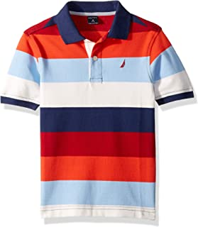Nautica Boys' Short Sleeve Heritage Polo Shirt, RETRO BLUE, Large (7)