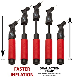 Valiant Sports Ball Pump Inflator with 5 Needles (Pin) and Pouch, Dual Action Hand Held Portable Air Pump with pins t...