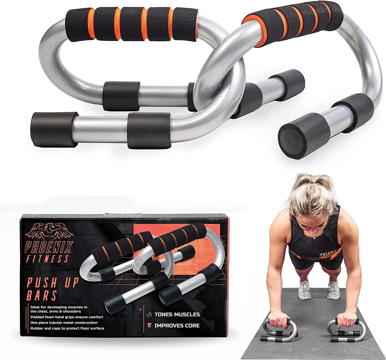 Phoenix Fitness depot Push Up Bar Stand Non-S 2021 spring and summer new Pair - with Press