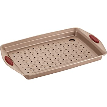 Rachael Ray Cucina Nonstick Bakeware Set with Grips, Nonstick Cookie Sheet / Baking Sheet with Crisper Pan - 2 Piece, Latte Brown with Cranberry Red Handle Grips