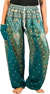 Lofbaz Women's Peacock Printed Drawstring Harem Pants