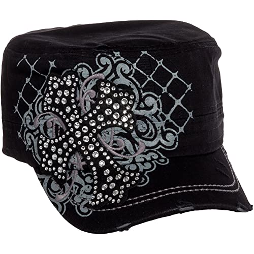 Crystal Case Womens Cotton Rhinestone Cross Cadet Cap Hat 7e769cfb30e1