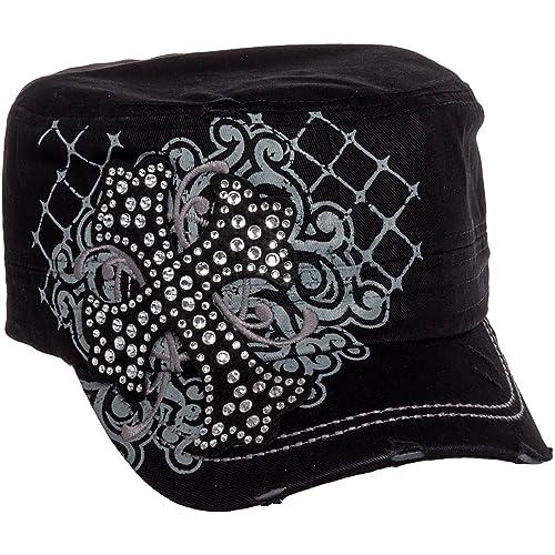8113459e444 Crystal Case Womens Cotton Rhinestone Cross Cadet Cap Hat