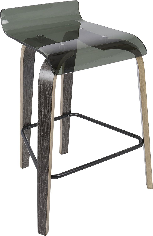LumiSource B26-CLRT DGY+GN Clarity 26  Contemporary Counter Stool, Dark Grey Green Acrylic