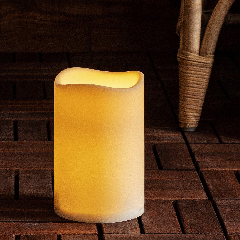 Lights4fun Vela de Exterior para decoración de jardín con luz LED y Temporizador, Funciona con batería, Altura 17,5 cm: Amazon.es: Jardín