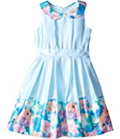 Us Angels - Matte Satin Sleeveless Peter Pan w/ Photo Reel Border Dress (Toddler/Little Kids)