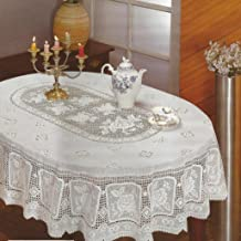 RJ Quality Product 315-54X72 Ov Crochet Tablecloth Vinyl Table Cloth, Off White
