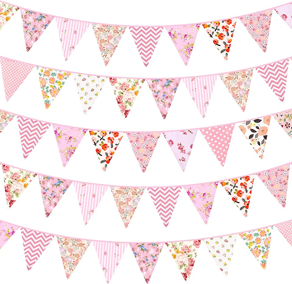 Whaline 50ft Fabric Bunting Banner Pink Floral Bunting Flag 50pcs Cotton Pennant Triangle Flag Vintage Garden Bunting Garland for Wedding Birthday Baby Shower Party Home Farmhouse Decoration