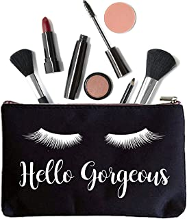 Hello Gorgeous Eye Lashes Makeup Bag - Cosmetic Bag - Gift Best Friend Gift - Personalized Makeup Bag - Bridesmaid Bag - Eye Lashes Decor