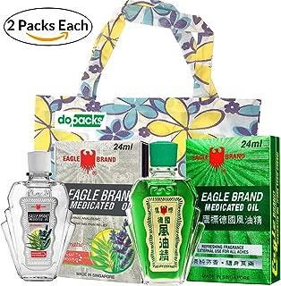 Eagle Medicated Oil (Eucalyptus) 24 ml 0.8 oz + White Eagle Medicated Oil External Analgesic (Aromatic Lavender) 0.8oz 24 ml Bundle + 1 Free Tote Bag (2 Packs)