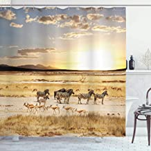 Ambesonne Safari Decor Collection, Zebras with Their Striped Coats in Savannahs Sunset Adventure Africa Wild Safari Photo, Polyester Fabric Bathroom Shower Curtain, 84 Inches Extra Long, Cream Golden