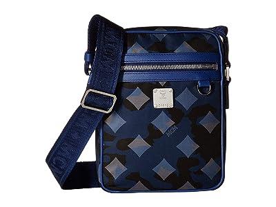 MCM Dieter Munich Lion Camo Nylon Crossbody Mini (Estate Blue) Handbags