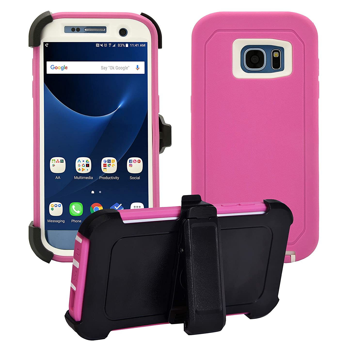 Samsung Galaxy S7 Edge Cover | Holster Case | Full Body Military Grade Edge-to-Edge Protection with carrying belt clip | Drop Proof Shockproof Dustproof | Pink / White