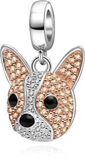 Rose Gold Dog Head Charms 925 Sterling Silver Dog Paw Print Animal Charm Fits Bracelet