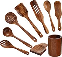 9 Pieces Wooden Kitchen Cooking Utensils Set Natural Teak Wood Spoons Spatula Spoon Rest and Kitchenware Storage Bucket Co...