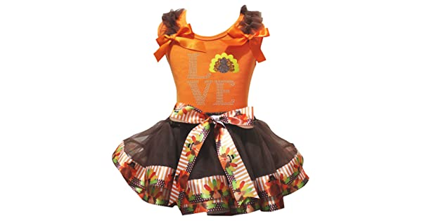Petitebella Love Turkey Orange Shirt Brown Turkey Petal Skirt Nb-8y