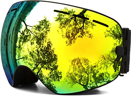 Ski Goggles,OTG Anti-Fog Snowboard Skate Snowmoblie Interchangeable Double Layer Spherical Lens Frameless Snow Goggles Men Women Juli BNC