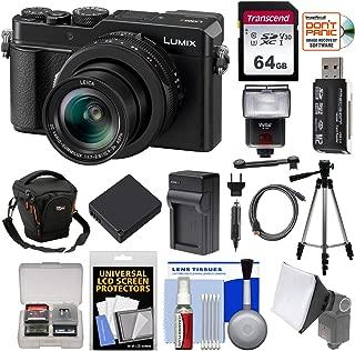 Panasonic Lumix DC-LX100 II 4K Wi-Fi Digital Camera with 64GB Card + Case + Battery + Charger + Flash + Tripod + Kit