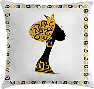 Ambesonne African Throw Pillow Cushion Cover, Female Head Portrait in Frame with Ornament Lines Design, Decorative Square Accent Pillow Case, 18
