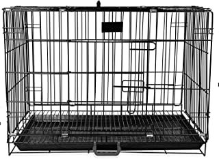 PSK Double Door Folding Metal Dog Cage with Paw Protector (30 Inch) Black