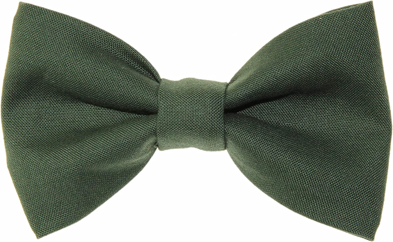 Boys Hunter Green Clip On Cotton Bow Tie Dark Green Bowtie
