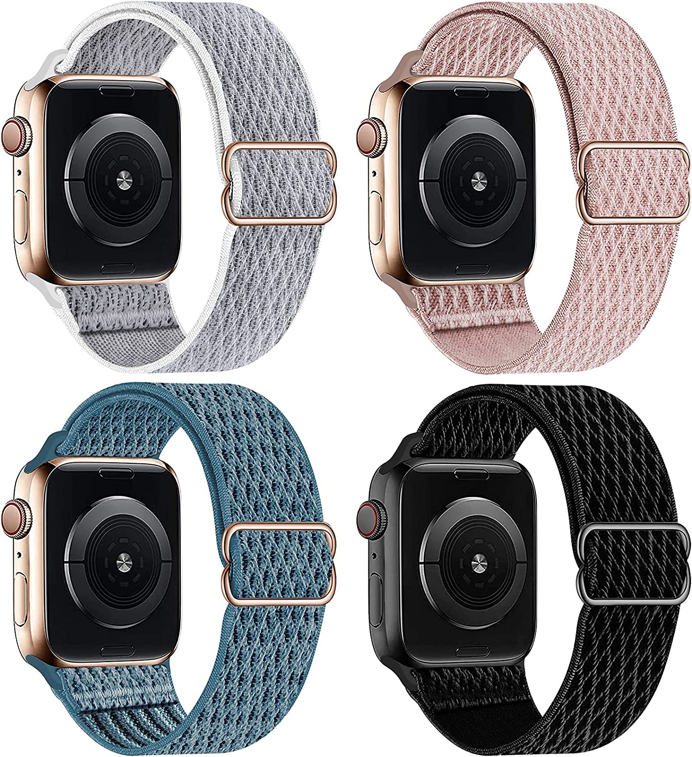 HILIMNY Elastic Braided Sport Solo Loop Compatible with Apple Watch Band 42mm 44mm, Stretchy Adjustable Nylon Men Women Strap Replacement Compatible with iWatch Series 6/5/4/3/2/1 SE, 4 Pack