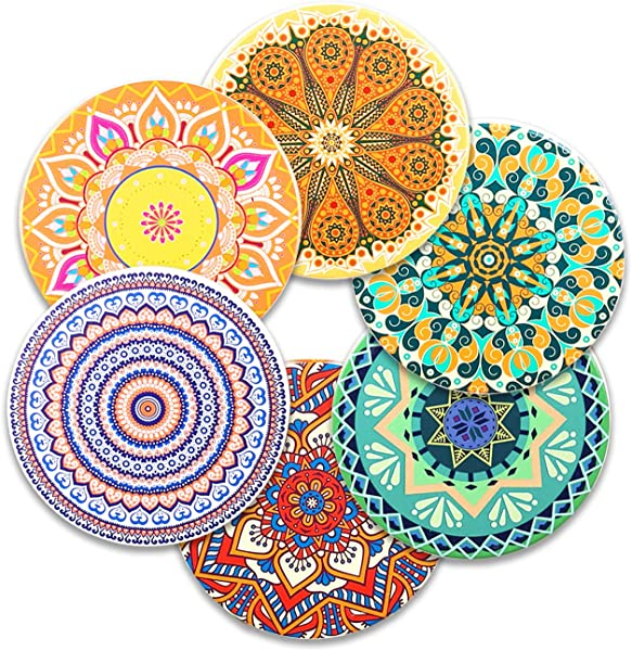 6 Piece Absorbent Magnetic Ceramic Coasters Coffee Mugs Mats Coasters Moisture Water Absorbent For Cold Drinks Refrigerator Magnet Colorful Mandala Style Home Decor