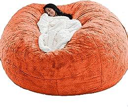 7ft Giant Fur Bean Bag Cover Living Room Furniture Big Round Soft Fluffy Faux Fur BeanBag Lazy Sofa Bed Cover(No Filler),O...