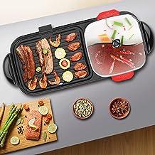 BDHBB Teppanyaki Parrillas, Cubierta de Corea BBQ Grill, eléctrico portátil Parrilla de Barbacoa, Parrillas eléctrico Multifuncional con Pato mandarín Pot, eléctrico sin Humo Grill