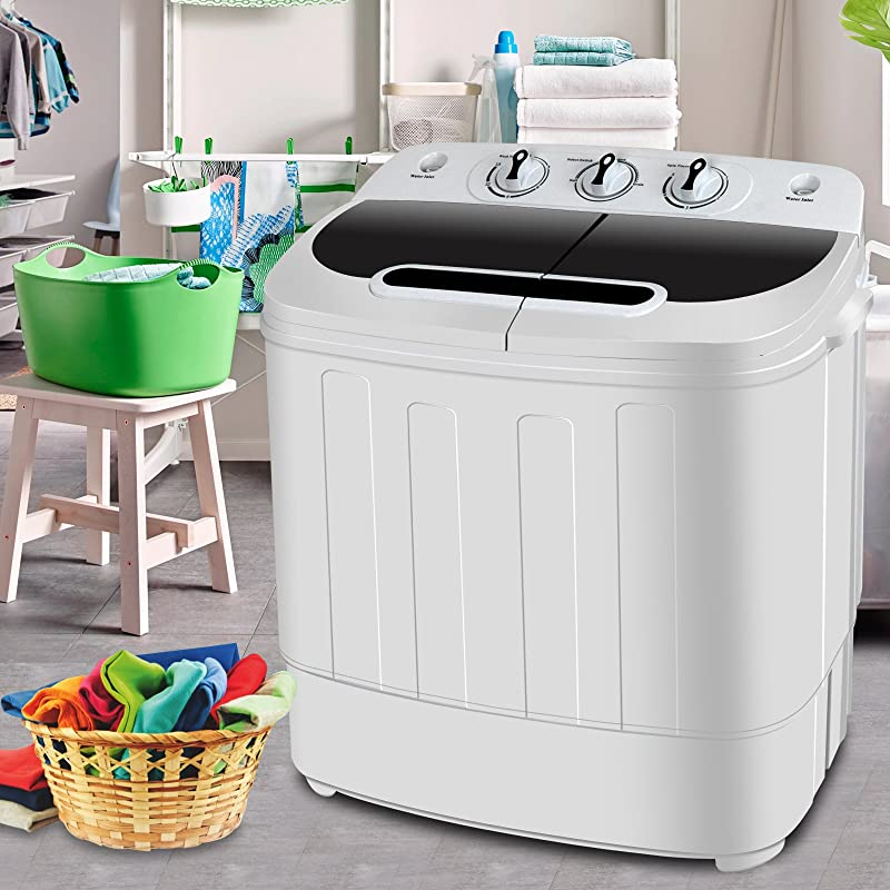 SUPER DEAL Portable Compact Mini Twin Tub Washing Machine W Wash And Spin Cycle Built In Gravity Drain 13lbs Capacity For Camping Apartments Dorms College Rooms RV S Delicates And More