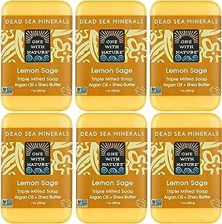 DEAD SEA Mineral LEMON SOAP 6 PK, Dead Sea Minerals Include Sulfur, Magnesium, etc. Shea Butter, Argan Oil. All Skin Types, Problem Skin. Acne, Eczema, Psoriasis, Natural, Therapeutic 7oz