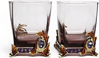 RORO Set of 2 Luxury Enameled and Jeweled Bohemia Crystal 9.5-oz Beverage DOF Rocks Glasses, Versace-inspired, Swarovski Decoration, Luxury Home Accessories