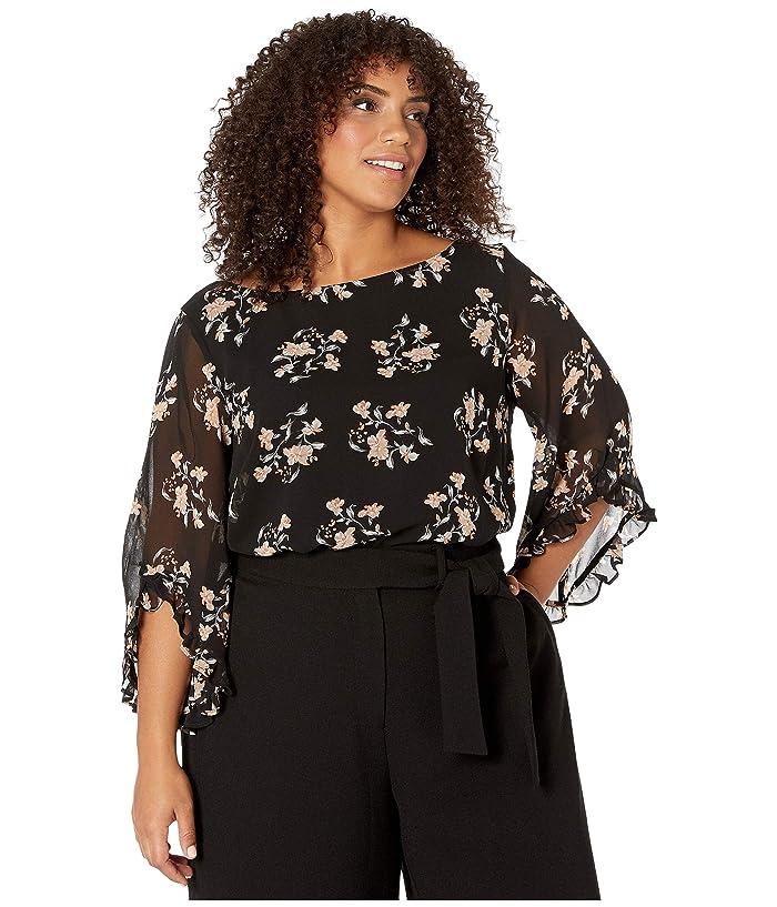 Plus Size Printed Ruffle Sleeve Blouse (Black/Multi) Women's Clothing