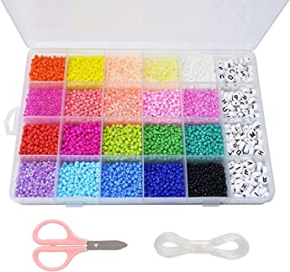 Beads Kit 10000pcs Glass Seed Beads 3mm Beads and 300pcs Alphabet Letter Beads for Name Bracelets Jewelry Making and Crafts, with 33 Feet Long Elastic String Cords,Scissors and Storage Box