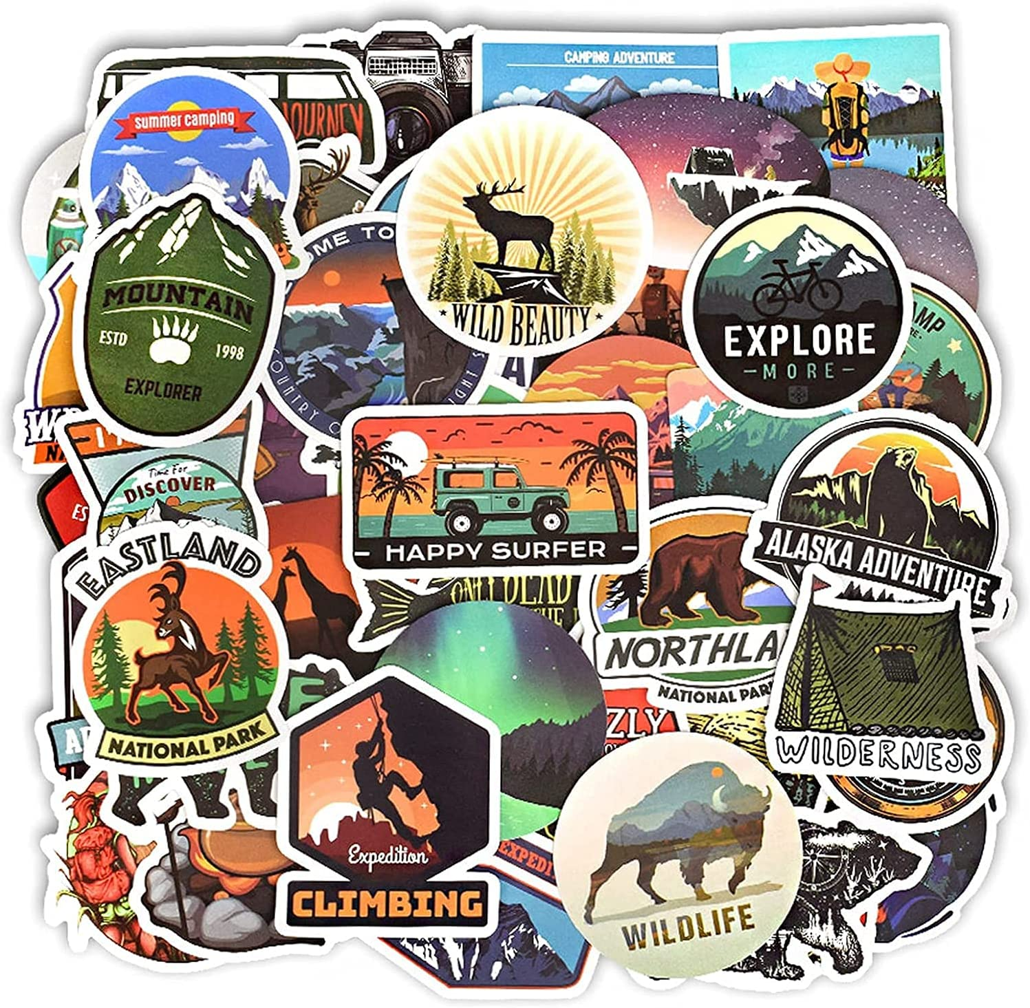 10 Pcs Waterproof Stickers for DIY Suitcase Laptop Bicycle Waterbottles Car Skateboard,Camping Landscape Stickers Outdoor Adventure Climbing Travel Decals 10 Pcs