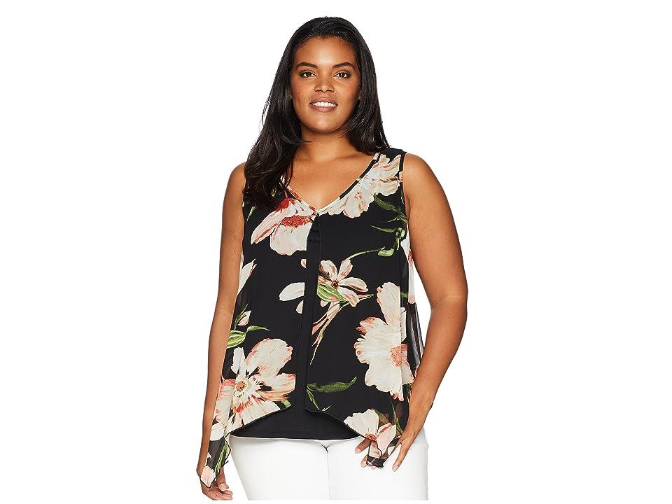 Karen Kane Plus Plus Size Sheer Floral Overlay Top (Print) Women