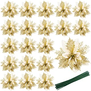 20PCS Christmas Glittery Poinsettia (Golden),5.51in Artificial Poinsettia with 5.9in Stems,Christmas Flowers for Party Wre...