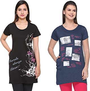2b62fd5867 IN Love Women's/Ladies Graphic Printed Longline Side Slits Side Pockets  Casual Tshirts Combo Pack