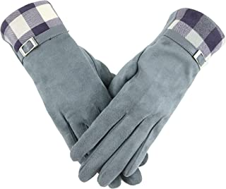 Womens Fashion Plaid Splice Windproof Gloves Winter Warm Wear can Touch Screen Phone