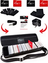 Quiver Black Playing Card Case - Carrying Deck Case with PU Leather Exterior with Double Zipper, Dividers, Hand & Shoulder Strap - Fits up to 1300 Cards - Deck Box Compatible + 100 Card Sleeves