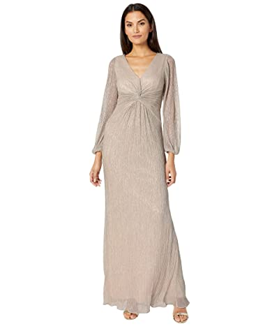 Adrianna Papell V-Neck Draped Gown w/ Pleated Glitter Knit Sleeves (Light Champagne) Women