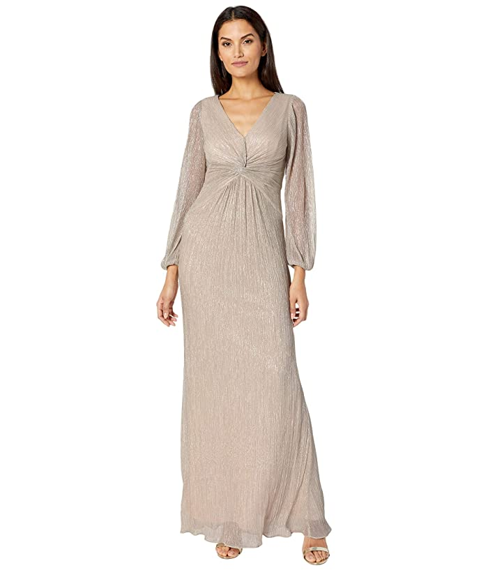 Vintage Prom Dresses, Homecoming Dress Adrianna Papell V-Neck Draped Gown w Pleated Glitter Knit Sleeves Light Champagne Womens Dress $179.10 AT vintagedancer.com