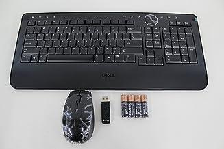 Genuine Dell Slim Wireless Multimedia Black Keyboard + Receiver + Glossy Scroll Wheel Mouse Bundle Part Numbers: M756C, M7...