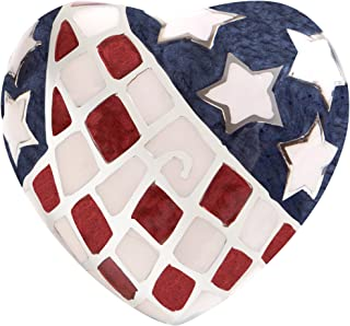 Ansons Urns American Flag Funeral Heart Keepsake Urn - Mini Cremation Urn Hand Made in Brass - Fits a Small Amount of Cremated Remains and Ashes - 3 inches Tall Burial Urn - Enameled Patriotic Design