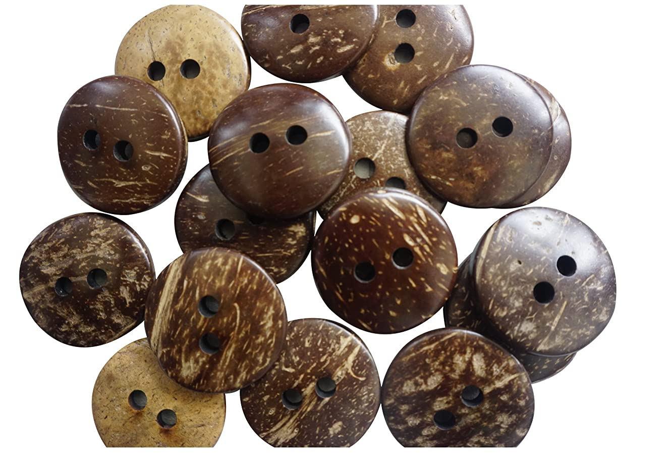 50 Pcs Real Brown Coconut Shell 2 Holes Sewing and Craft Buttons - Large 38mm (1-1/2