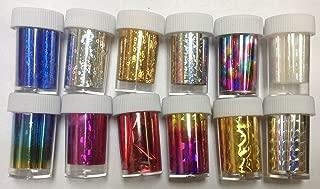 12 styles GLITZY TRANSFER NAIL ART FOIL Adhesive - Nail Art Transfer Foil Nail