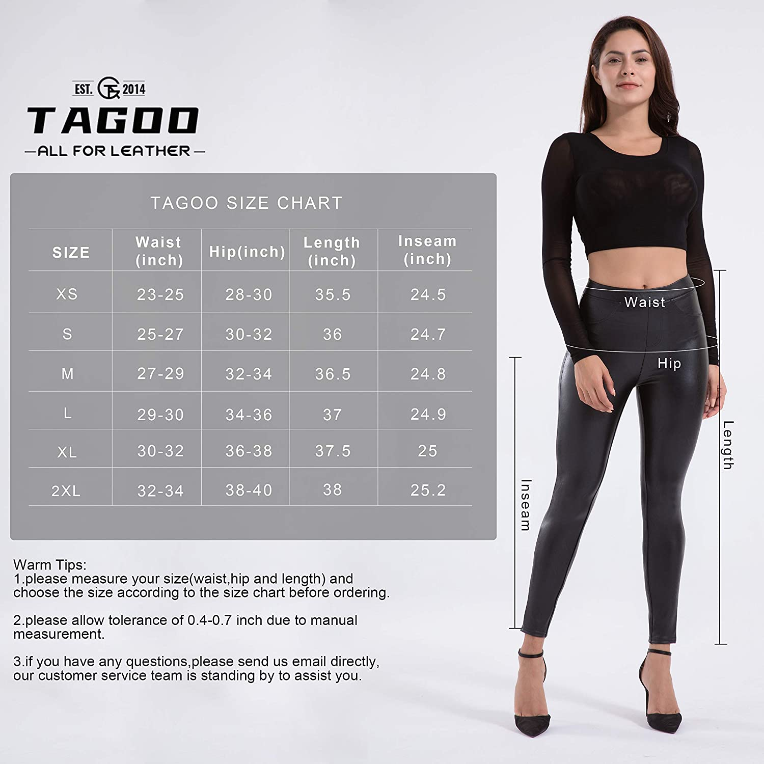 Tagoo Faux Leather Leggings for Women High Waisted Stretch Butt Lifting Pleather Pants