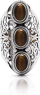 Koral Jewelry Tiger Eye 3 Stones Vintage Gipsy Lace Ring 925 Sterling Silver US Size 6 7 8 9 10