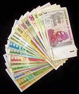Nice1159 19 Zimbabwe Banknotes-1 Dollar to 50 Billion Dollars-Circulated currency - Rare Popular For collectors (Only 1 set left)