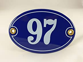 Emaille huisnummerbordje nr. 97, ovaal, blauw-wit Nr. 97 Blau-Weiß